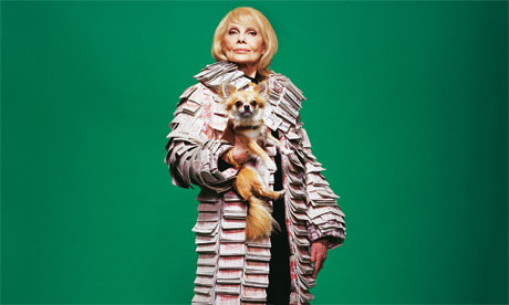 Super-rich woman in money coat